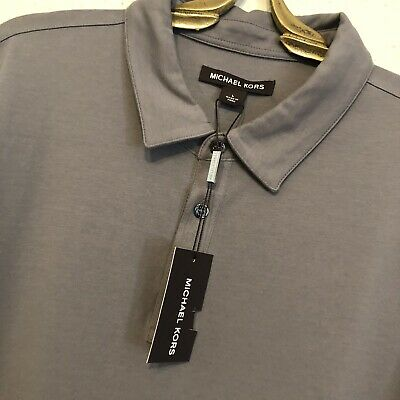 7aafff328c1c9 MICHAEL KORS NWT New Bryant Polo Mens Large Storm Solid Gray Pima Cotton  Stretch -  29.99