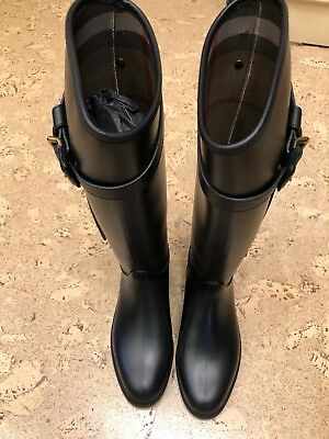 9f61c40b0f309 Preowned BURBERRY Roscot Tall Riding Rubber Rain Boots Box Women s Size EUR  37
