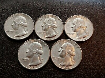 Nice Lot of Five (5) Choice BU 1944-P Washington Quarters