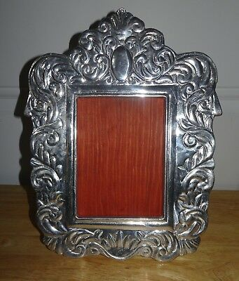 "Vintage Antique Cast Aluminum Ornate Silver 4""X 6"" Picture Frame"
