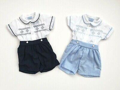 Baby Boys Spanish Style Smocked White Blue Navy Short Jam Pant Outfit 0-9 Months