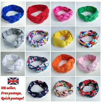 Baby Headbands Hairbands Girls Kids Knots Turban Twist Head Wrap Floral Plain UK
