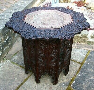 Antique  Anglo Indian Octagonal  Folding Side Table With Inset  Copper Tray