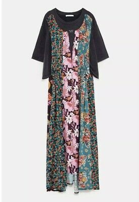 a1d52e655029 NWT Zara Woman Combined Patchwork Floral Print Black Dress Size M Medium