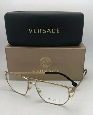 014337263537 New VERSACE Eyeglasses MOD.1257 1410 55-15 140 Matte Gold   Black Aviator