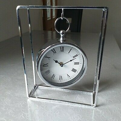 Chrome Mantel Table Clock Silver Roman Number Hanging mantel Office Table Clock