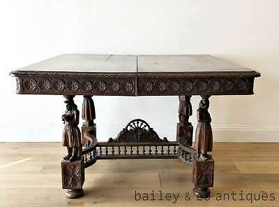 Restorer - Antique French Oak Heavily Carved Dining Table Breton - PQF100