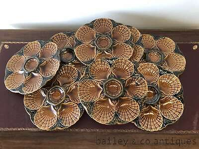 French Vintage Oyster Plates Set 8 Sarreguemines Marjolica - OF506a