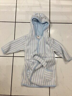 White & Blue Striped Baby Boy Dressing Gown 9-12 Months Hood With Ears
