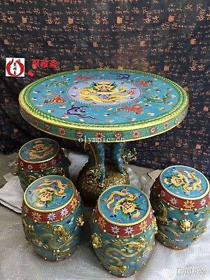 bronze gold copper padding thread weaving enamel cloisonne round table and stool