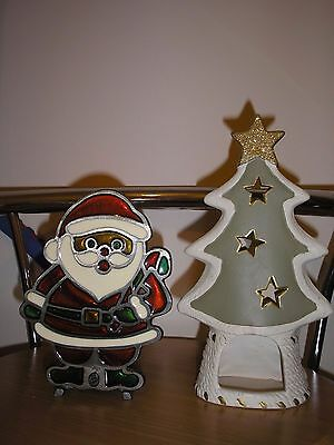 2 x Christmas Metal Decorations-Candle Holders.
