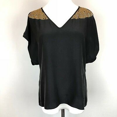 4268c66305dee Parker Black Silk Cold Shoulder Blouse with Gold Studs Size XS  Studs  Missing
