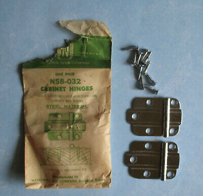 Vintage Cabinet hinge flush bright chrome plate National Lock N58 032 Deco style