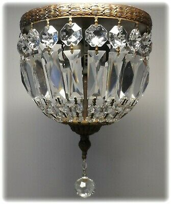 Vtg Italian Gold Brass & Crystal  Basket Petite Chandelier Ceiling Mount Lamp