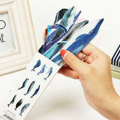 36pcs Cute Paper Bookmark Fish Whale Dolphin Japanese Style Bookmarks Art SW