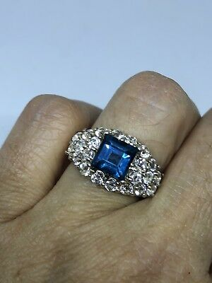 Deco Genuine London Blue Topaz Vintage 925 Sterling Silver Size 7 Ring