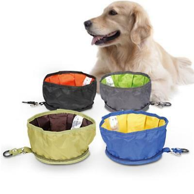 Pet Dog Cat Portable Silicone Collapsible Travel Feeding Bowl Water Feeder SW
