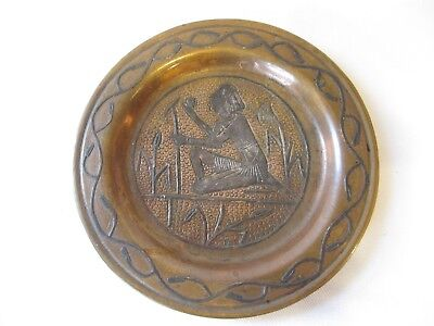 Vintage EGYPTIAN REVIVAL ARTS & CRAFTS HAMMERED FIGURAL LOTUS SILVER Copper Tray