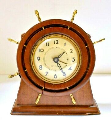 Vintage Seth Thomas Capstan Ship's Wheel Electric Shelf Clock