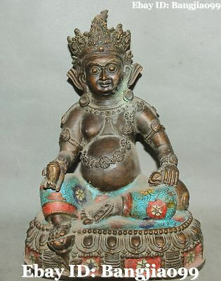 "10"" Chinese Purple Bronze Cloisonne Enamel Yellow Jambhala God Buddha Statue"