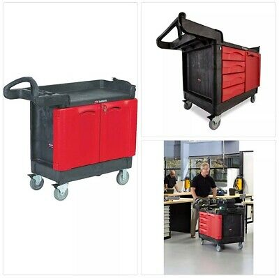 """Rubbermaid Commercial Trademaster 4 Drawer Mobile Work Center with Cabinet, 49"""""""