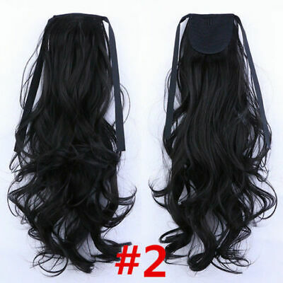 24'' Wrap Around Clip in Curly Weave Ponytail Hair Extensions Women Hairpieces