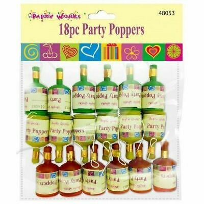 18 x Assorted Colourful Party Poppers Celebrations Wedding Confetti Poppers UK