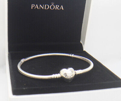 decb2e7a8 Authentic Pandora 925 Silver Bracelet Heart Clasp 8.3 in 590719-21cm With  Box