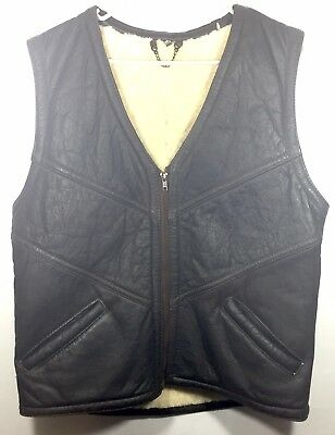 Vintage Shearling Leather Vest Size Medium 80's/90's Motorcycle Riding Vest