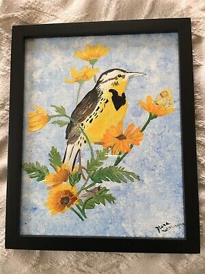 "Hand painted Meadowlark using acrylic paint on 8x10"" panel canvas board. framed"
