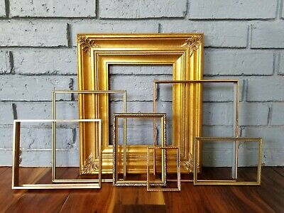 Lot of 7 Vintage Gold Picture Frames Grouping Large Ornate Wedding Decor Gallery