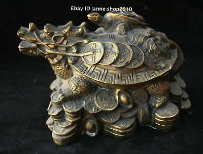 15cm Collect Chinese Old Bronze Copper Handmade animal dragon turtle Statue AXBM