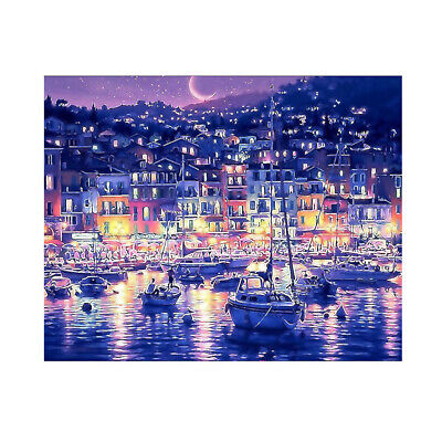 Home Art Decor Paint By Numbers Kit Digital Oil Painting DIY Moon Boat No Frame