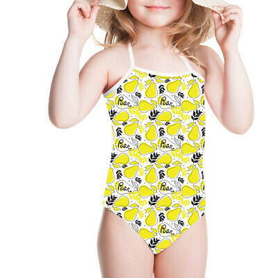 Yellow Pear Girls Swimsuit 1-10Y Kids Swimwear Beach Dress Bikini Bath Bodysuit