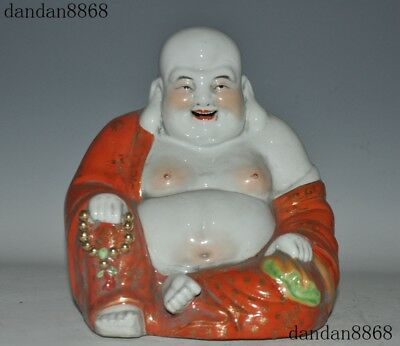 "9""Old Chinese Wucai porcelain master hand carved laughter maitreya Buddha statue"
