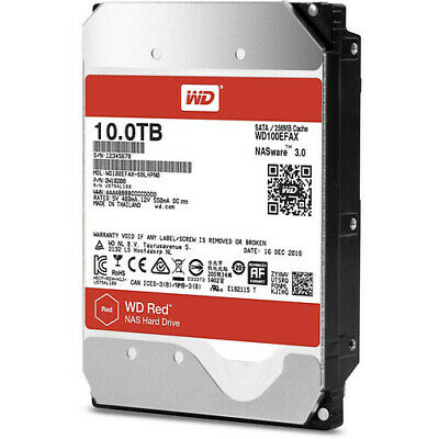 "WD WD100EFAX 10TB Red 3.5"" IntelliPower SATA3 NAS Hard Drive"