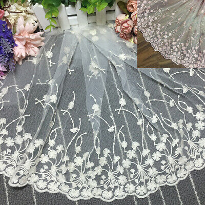 Crafts Sewing 1Yard  Elegant Glamorous Delicate Embroidered Tulle  Lace Trim Gold 7 Wide