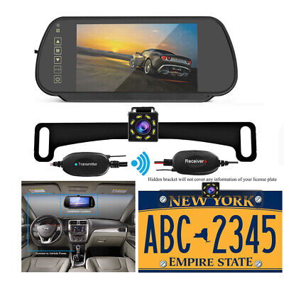 "Wireless Car Rear View Kit 7""Mirror Monitor+License Plate Camera IR Night Vision"