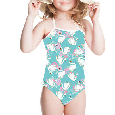 Swan Blue Girls Swimsuit Kids Swimwear Toddlers Baby Bikini Bath Suit 1 2 6 8 10