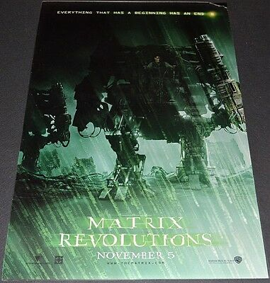 THE MATRIX REVOLUTIONS 2003 ORIGINAL DS 27x40 MOVIE POSTER! KEANU REEVES ACTION!
