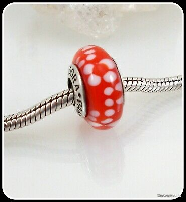 Authentic Pandora Sterling Silver 925 ALE Red White Flower Murano Bead Charm#194