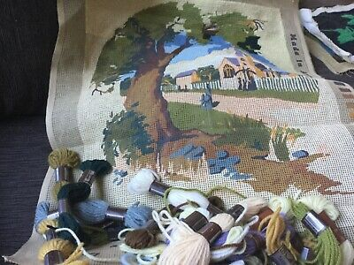 Choice of 3 unfinished tapestry kits, wool and canvas included 10-50% done