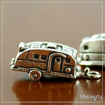 Caravan charms ~PACK of 2~ Tibetan silver camping trailer park holiday vacation