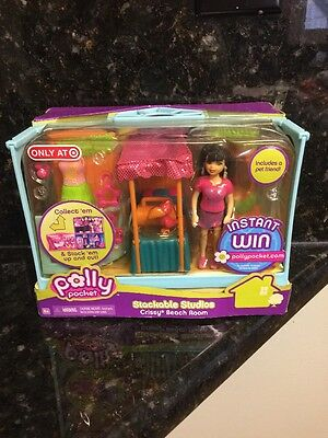 Polly Pocket Stackable Studios Crissy Beach Room  Pet Room Brand New