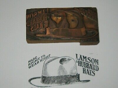 Antique Printers Block LAMSON & HUBBARD HATS ADVERTISING Copper /Wood