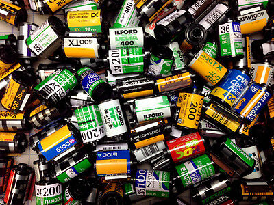 SALE - 100 Assorted empty 35mm film cassettes, Kodak, Fuji, Ilford and more