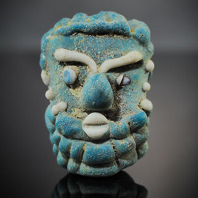 Antique Blue face Unibrown Blue Beard Face Islamic Glass Bead Phoenician Pendant