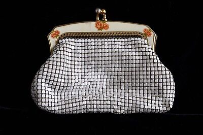 Purse, Oroton, white mesh, metal clasp floral detail, vintage 60s $44 great gift