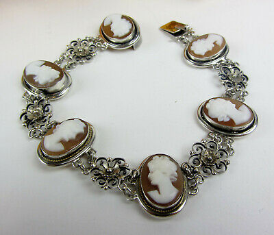 Beautiful Victorian Style 6 Cameo Sterling Silver 925 Link Bracelet Size 7-3/8""