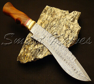 Smart Knives Hand Made Damascus Steel Hunting Kukri Bowie Knife Handle Wood